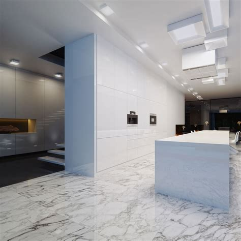 Marble Kitchen Floor Black White Designed By Studio O Organic Design Keribrownhomes
