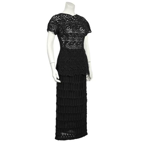 Id 351 Crochet Set Topskirts Black 1980 s anonymous black guipure lace skirt and top set for sale at 1stdibs