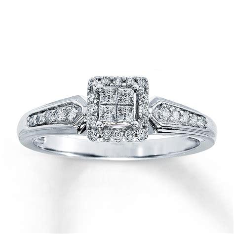 ring 1 4 ct tw princess cut 10k white gold