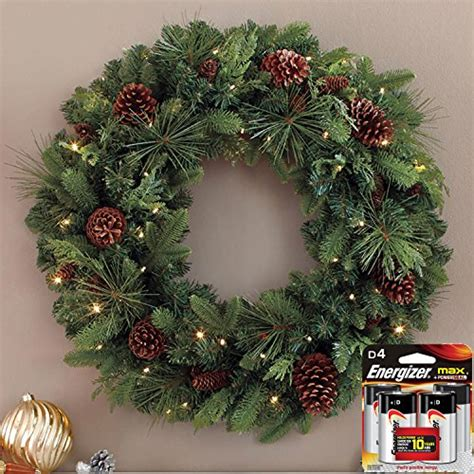 decorated pine 32 quot christmas wreath pre lit with 50 led