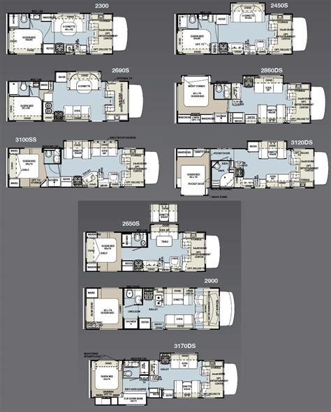Expandable Rv Floor Plans by Forest River Sunseeker Class C Motorhome Floorplans
