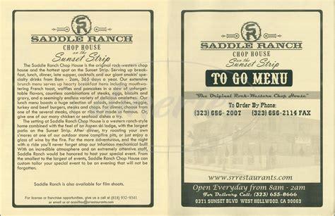 Chop House Menu by Saddle Ranch Chop House Menu West Dineries