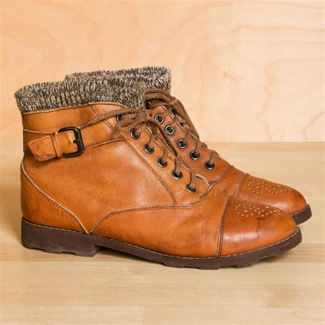 sweater ankle boots ankle boots 6 5 5 vintage sweater cuff leather by