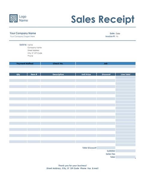 receipt template usa blue receipts office