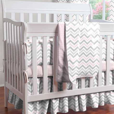 Pink And Gray Chevron Mini Crib Bedding Carousel Designs Crib Bedding Pink And Grey
