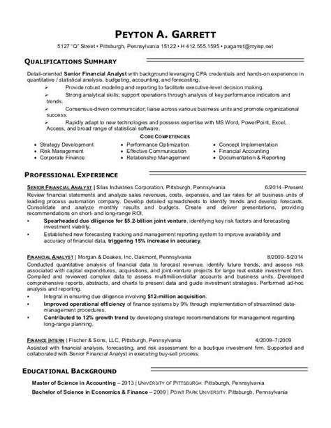Financial Analyst Resume Template Free by Financial Analyst Resume Templates Resumes Sles Finance