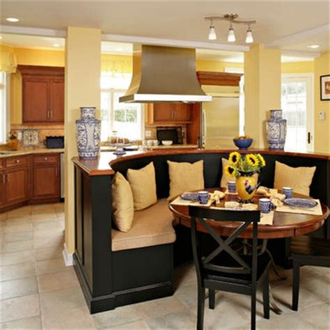 kitchen island with banquette curved banquette seating off island kitchen ideas