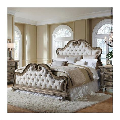 wood and upholstered bed pulaski arabella button tufted upholstered bed in medium