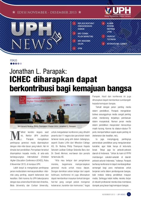 email uph universitas pelita harapan uph news november 2013