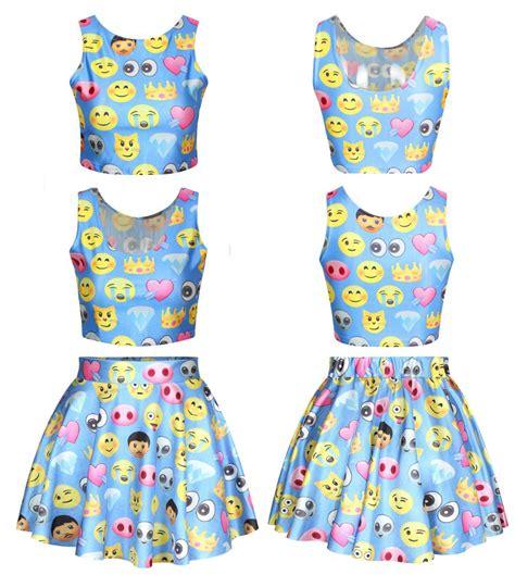 emoji robe 2015 summer style women emoji crop top and skirt set