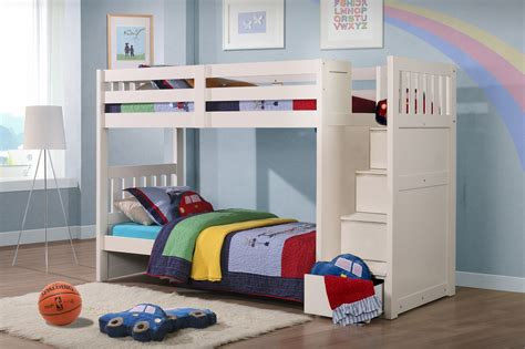 bunk bed with stairs and storage neutron children s bunk bed with stair storage