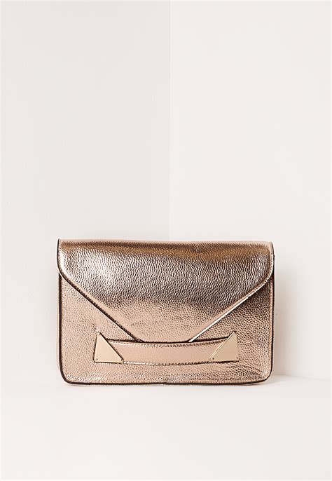 Ac 8490 Rosegold Pink Leather 1 lyst missguided envelope detail clutch bag gold in pink