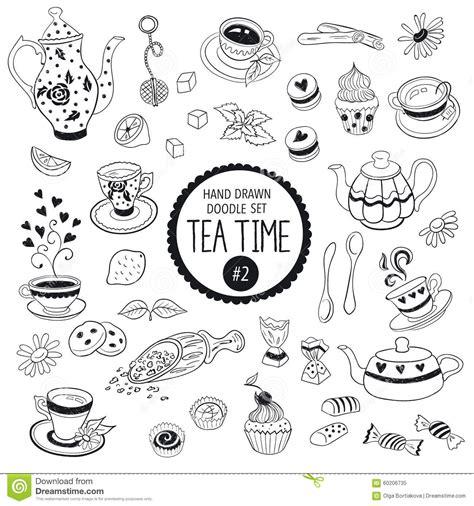 doodle time tea time doodle elements stock vector image 60206735