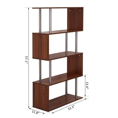 homcom wooden bookcase s shape storage display unit 4