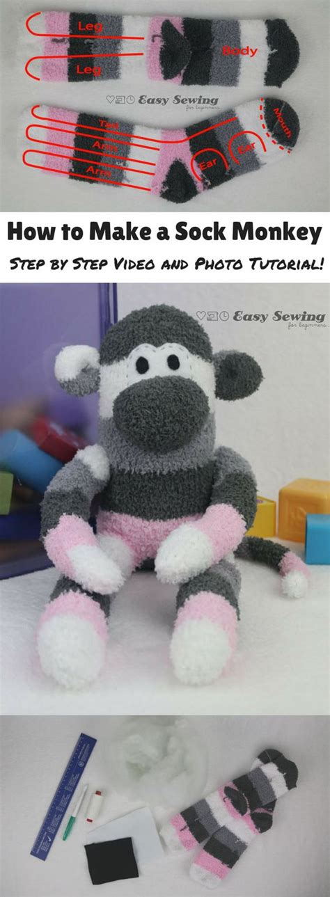 how to make a sock monkey step by step and photo