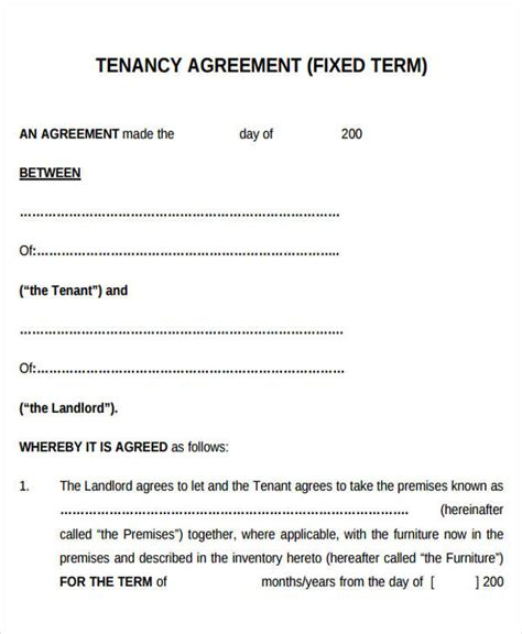 fixed term tenancy agreement template 32 lease agreement forms in pdf