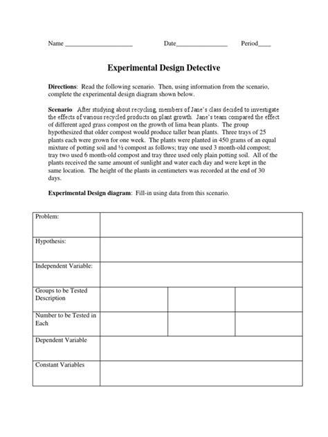 experimental design lesson designing an experiment worksheet mmosguides