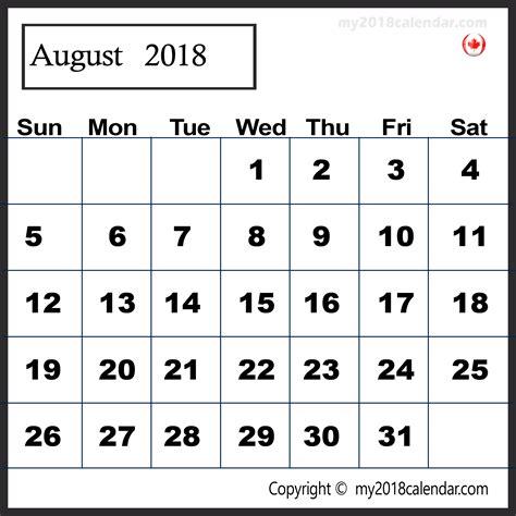 2018 Printable Calendar Canada Printable August 2018 Calendar Canada Free Calendar