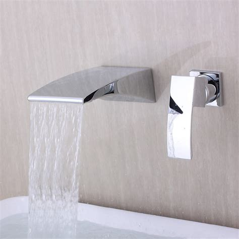 waterfall bathtub faucet wall mount contemporary wall mounted waterfall chrome finish curve