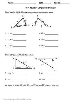 Geometry Test Review Congruent Triangles By My Geometry