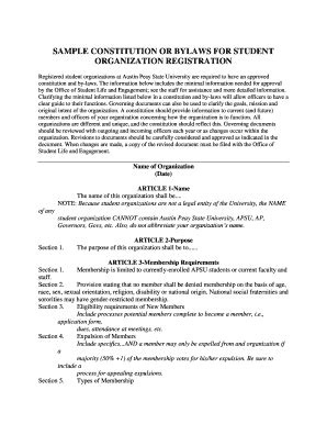 Fillable Online Apsu Sle Constitution Or Bylaws For Student Organization Registration Apsu Organization Constitution And Bylaws Template