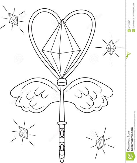 magic wand coloring page stock illustration image 52718407