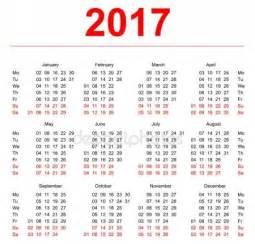 Calendario Por Semanas 2017 Vectores De Stock De 2017 Ilustraciones De 2017