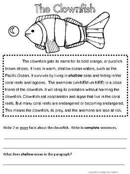 Ocean Animals Reading Comprehension by Growing Smart