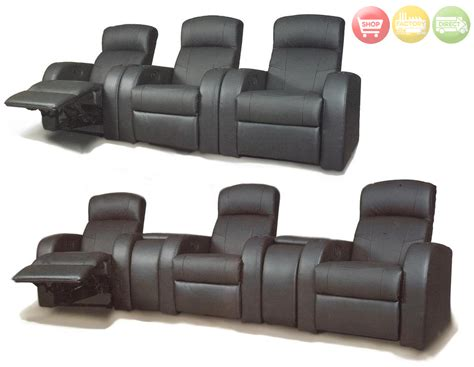Reclining Theatre Seats by Cyrus Black Leather Reclining Home Theater Seats