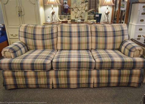 blue plaid sleeper sofa blue plaid sofa check furniture slipcovers ebay thesofa