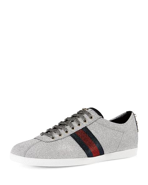 Guc Ci Silver White gucci web low top sneaker with stud detail in