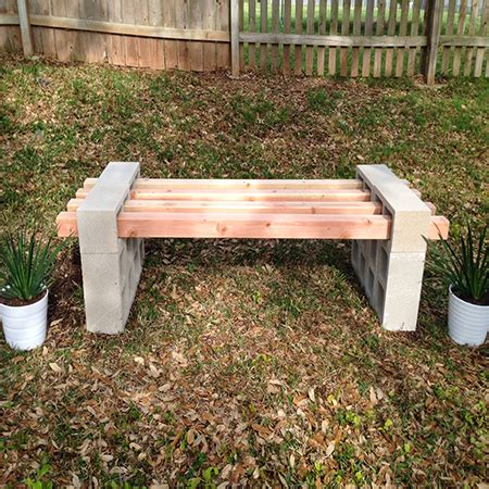 concrete block bench home dzine garden concrete or wood garden bench ideas