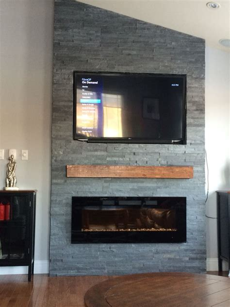 kaminofen wand grey fireplace with floating mantle electric