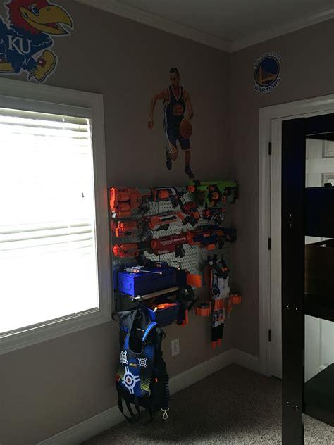nerf bedroom nerf gun storage metal pegboard boys bedroom remodel