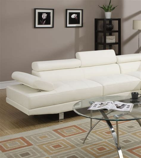 poundex white leather modern sectional sofa poundex sectional sofa set white leather f7320