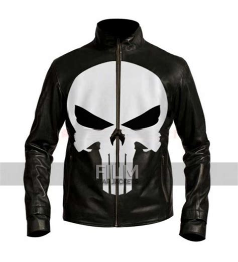 black motorbike jacket punisher skull black motorcycle leather jacket