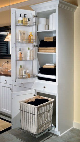 Bathroom Closet Storage Ideas Linen Closet With Removable Hamper For Aristokraft Built