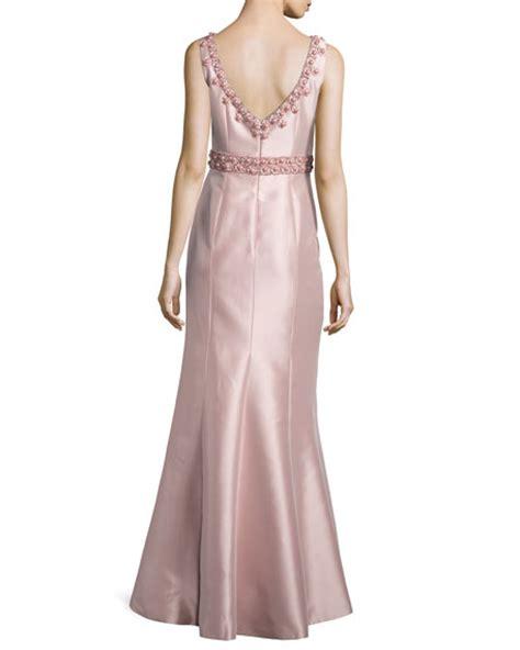 theia embellished sleeveless mermaid gown blush