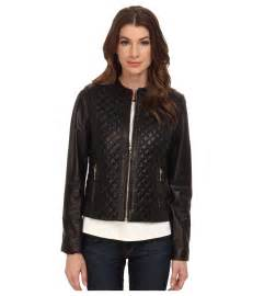 cole haan collarless moto quilted leather jacket