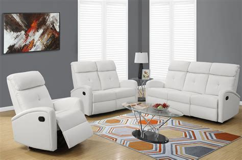 3 reclining living room set 88wh 3 white bonded leather reclining living room set