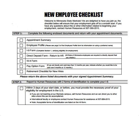 new employee template new hire checklist sle 13 documents in pdf
