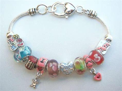 pandora inspired pink charm bead bracelet