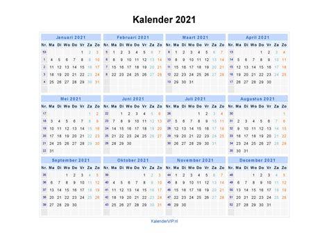 kalender 2021 jaarkalender en maandkalender 2021 met