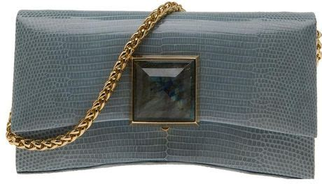 Lizard Ostrich Clutch By Kara Ross by Kara By Kara Ross Celina Ring Lizard Clutch In Gray Gold