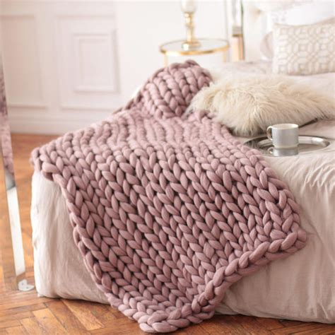 thick knitted blanket wool hugs dusty pink chunky knit blanket chunky knit throw