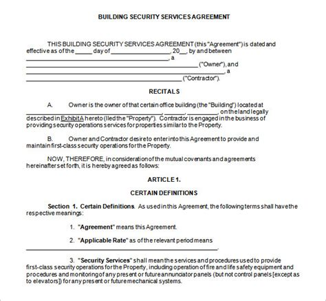 security company template 11 security contract templates free word pdf format