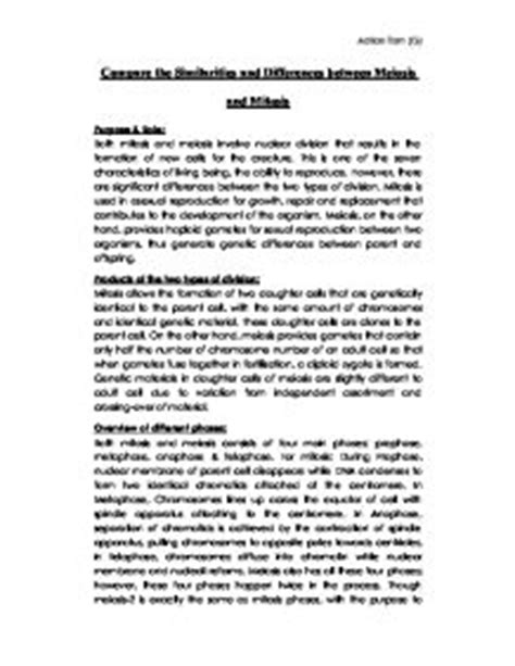 Mitosis And Meiosis Essay by Compare The Similarities And Differences Between Meiosis And Mitosis A Level Science Marked