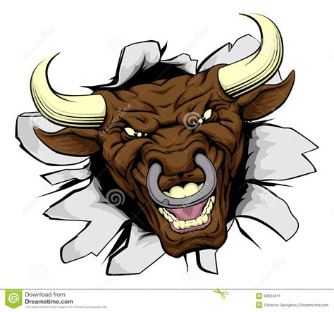bull mascot breakthrough stock vector image of bulls