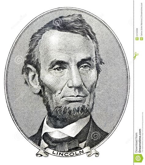 abraham lincoln on the five dollar bill president abraham lincoln on five dollar bill stock photo