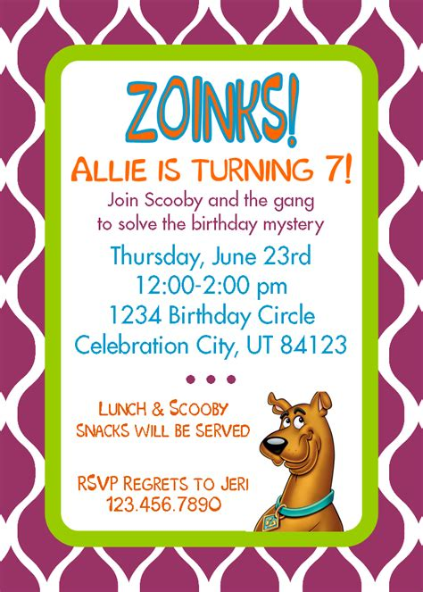 free printable birthday invitations scooby doo embellish zoinks i ve got a new etsy upload scooby